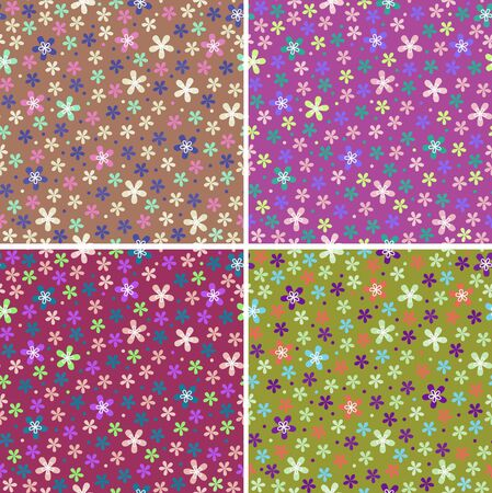 spacey: flower seamless color pattern vector set Illustration