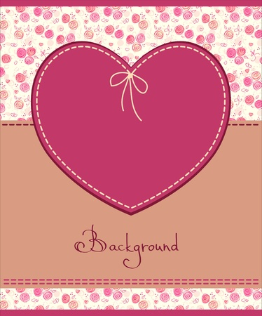 sewing pattern: vector pink heart textile label