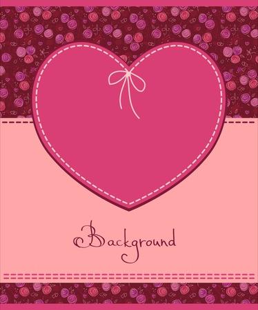 corazon rosa: coraz�n rosado etiqueta textil Vectores