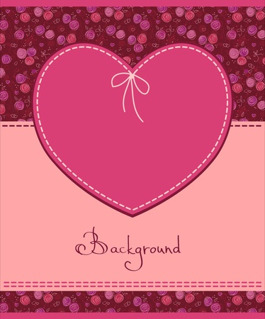 sew tags: pink heart textile label  Illustration
