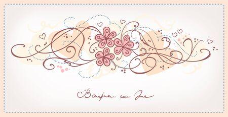 linework: Cute pink flowers vintage background