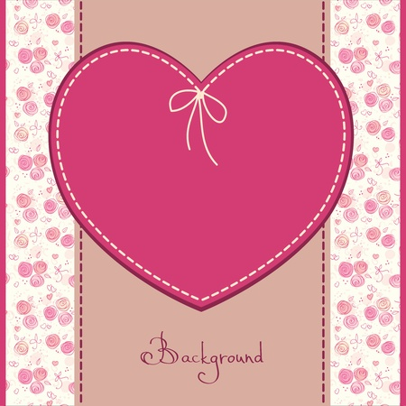 greeting, wedding or birthday card with flowers and heart Vector