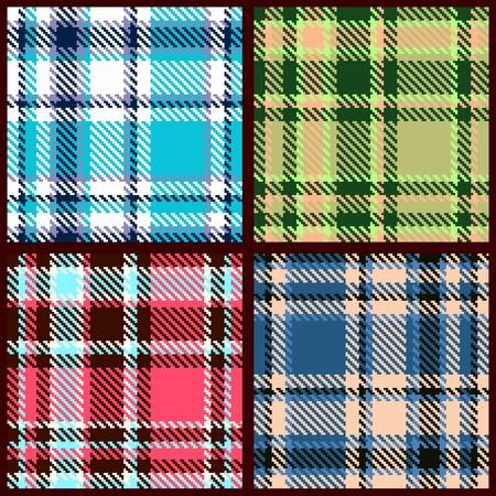 blue blanket: set of seamless checkered pattern