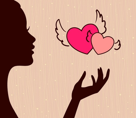 meisje silhouet: mooi meisje silhouet met hartjes