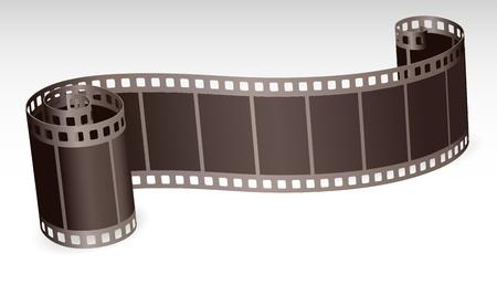 rollo pelicula: película retorcida tira rollo de fotos o de vídeo en la ilustración de fondo blanco