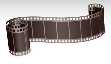 film frame: twisted film strip roll for photo or video on white background illustration
