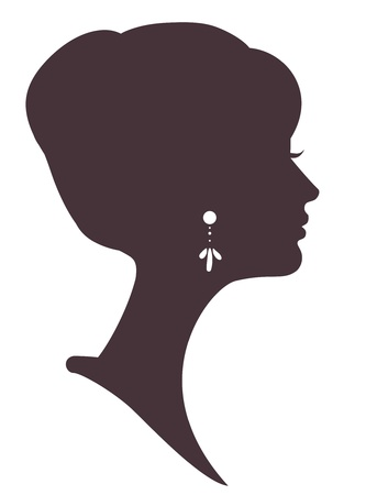 head silhouette: beautiful girl  silhouette with stylish hairstyle Illustration