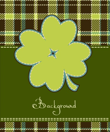 irish background: Four leaf clover textile label
