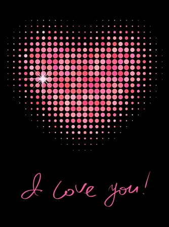 Pink color halftone heart shape Stock Vector - 12356777