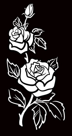 Vector graphic art of Rose flower with leaves Vector