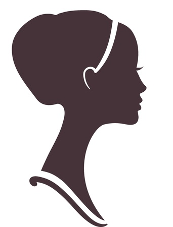 beautiful girl  silhouette with stylish hairstyle Vector