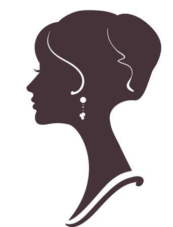 perfil de mujer rostro: silueta de la hermosa muchacha con peinado con estilo Vectores