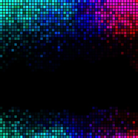 Multicolor abstract lights disco background. Square pixel mosaic Illustration