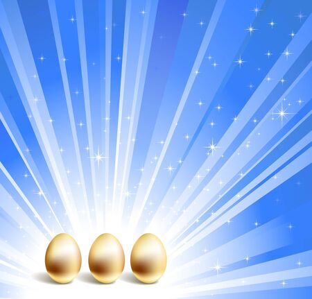 priceless: Gold eggs and blue star background