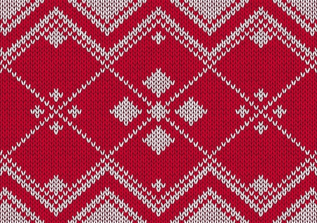 Style seamless red and white knitted pattern Vector