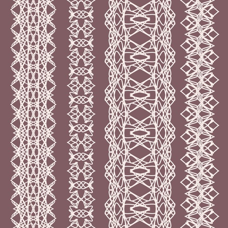 Collection of cute white straight lace  Vector