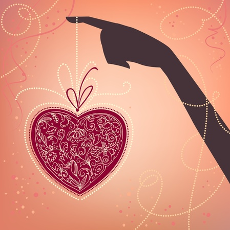 Vector background with hand and heart. Valentines day card  Vector