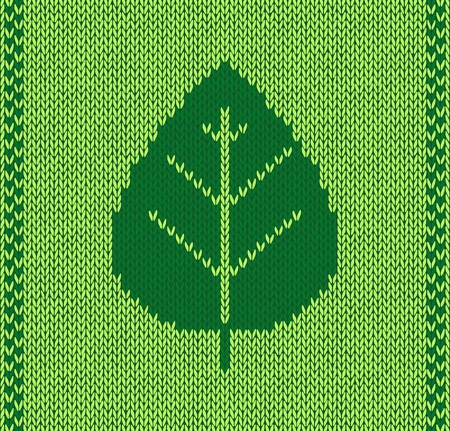 Style leaf seamless green knitted pattern Vector Illustration