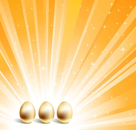 Gold eggs and yellow star background Vector