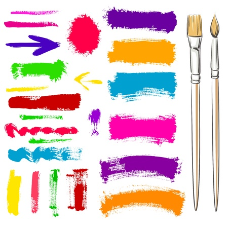 tempera: Brushes and grunge painted elements. Vector painted banners Illustration