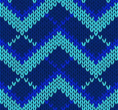 tejidos de punto: Estilo de color azul sin costuras Patr�n Vectores