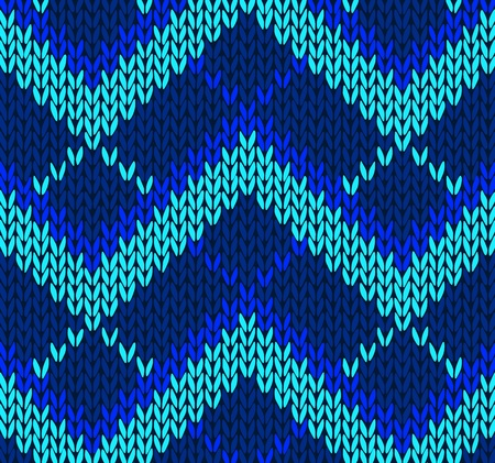 Style Seamless Blue Color Knitted Pattern Vector