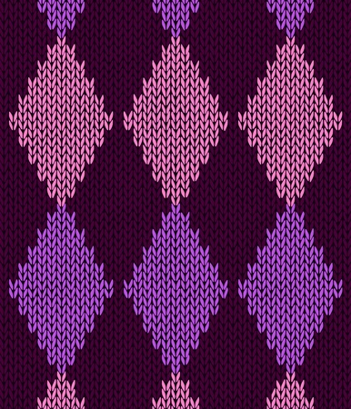 Style Seamless Pink Color Knitted Pattern Vector