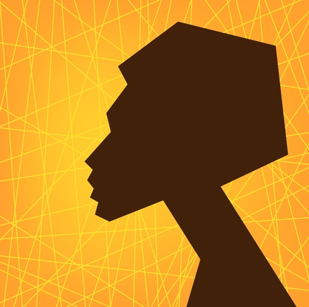 african woman face: African Volto Silhouette Donna, Portret Vector stilizzato