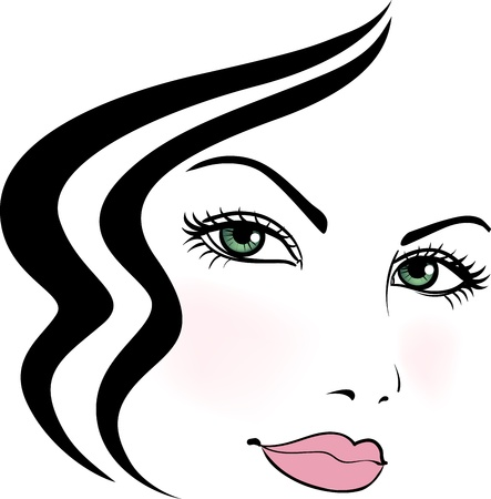 Girl face with beautiful stylized haircut  Vector