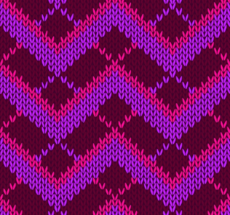 Style Seamless Red Pink Violet Color Knitted Pattern Vector