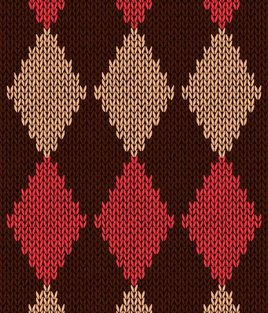 rhomb: Style Seamless Red Brown Yellow Color Knitted Pattern