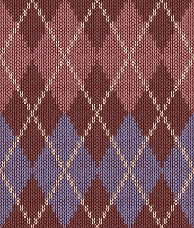 Style Seamless Pink Brown Blue Color Knitted Pattern Vector