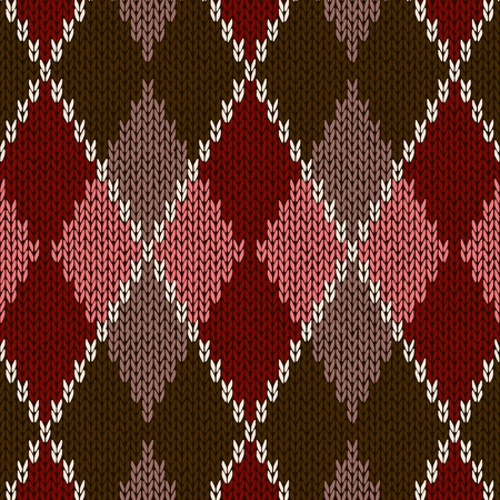 Style Seamless Pink Brown Red Color Knitted Pattern Vector