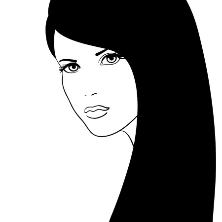 brunettes: Black and white girl face vector illustration, fashion model
