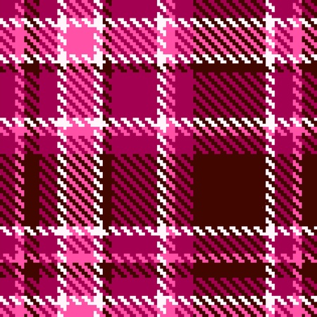 Seamless Red and Pink Checkered Vector Fabric Pattern  Vector