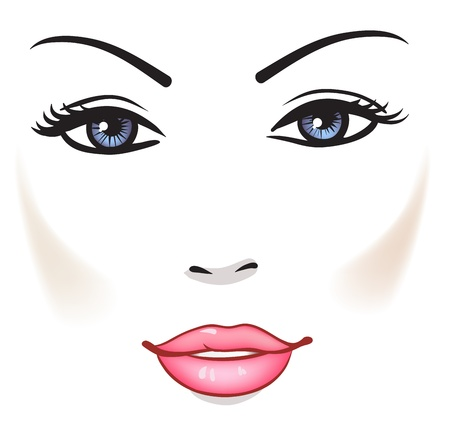 Beauty Woman Face, Beautiful Girl Vector Portrait  Vector