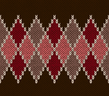 lozenge: Style Seamless Pink Brown Red Color Knitted Pattern Illustration