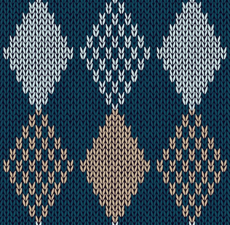 Style Seamless Blue Color Knitted Ornament Vector
