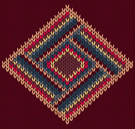 Style Seamless Brown Red Blue Yellow Color Knitted Pattern Vector