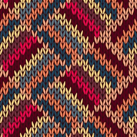Stil Nahtlose Braun Rot Blau Gelb Farbe Strickmuster
