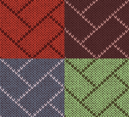 Style Seamless Brown Red Blue Yellow Color Set Knitted Pattern Vector