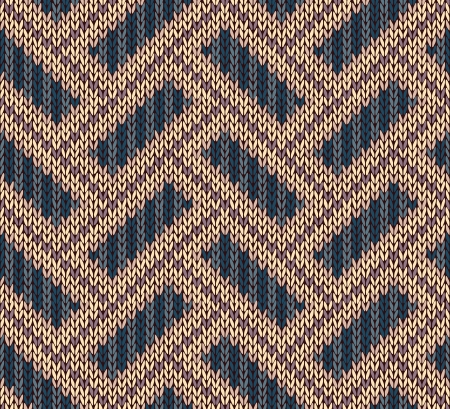 Style Seamless Brown Blue Yellow Color Knitted Pattern Vector
