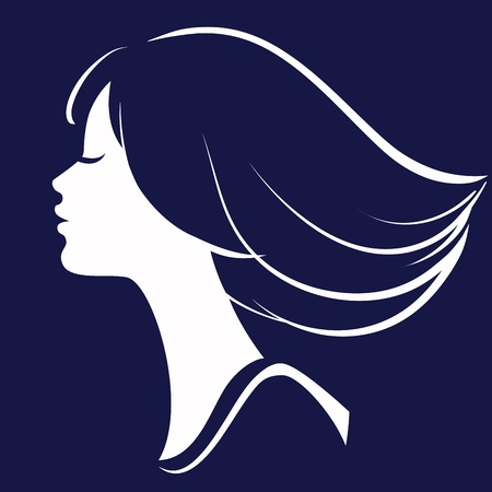 Beautiful Girl Face Silhouette, illustration  Vector