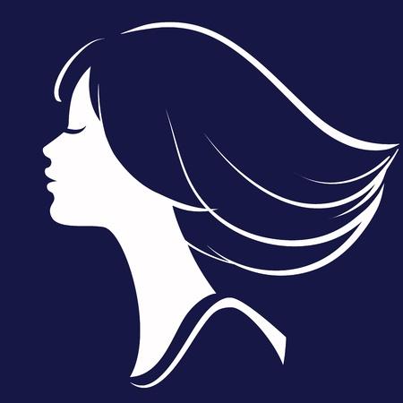 visage femme profil: Belle silhouette visage de la fille, illustration Illustration