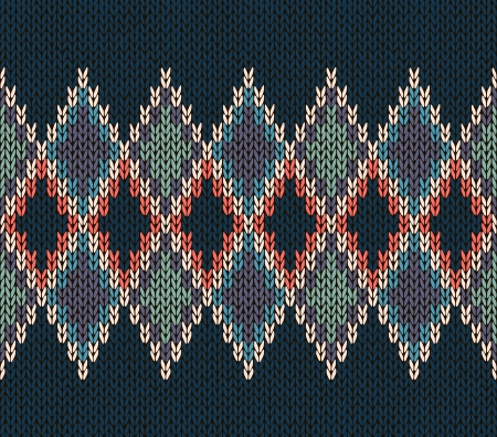 lozenge: Style Seamless Blue Orange Green Color Knitted Pattern Illustration
