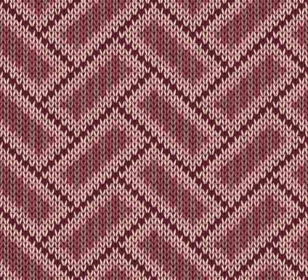 Style Seamless Brown Red Pink Color Knitted Pattern  Vector