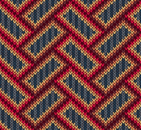wool texture: Style Seamless Brown Red Blue Yellow Color Knitted Pattern  Illustration