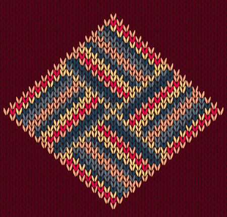 fabric samples: Style Seamless Vintage Brown Red Blue Yellow Color Knitted Modern Pattern
