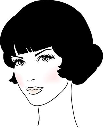 Beautiful Cute Girl Face Vector illustration