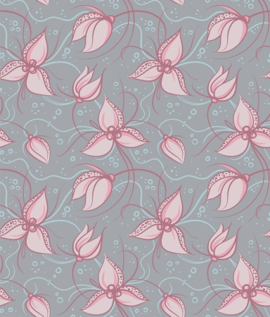 Seamless pattern pink orchid flowers  Vector